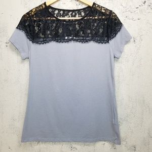 Cato lace topped tee Sz M